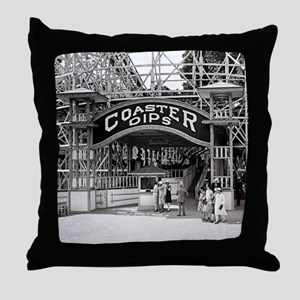 Wooden Roller Coaster, 1926 Throw Pillow