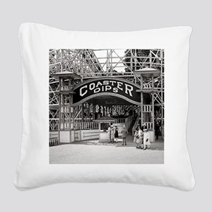 Wooden Roller Coaster, 1926 Square Canvas Pillow