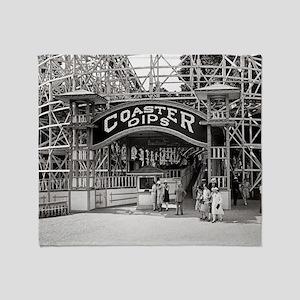Wooden Roller Coaster, 1926 Throw Blanket