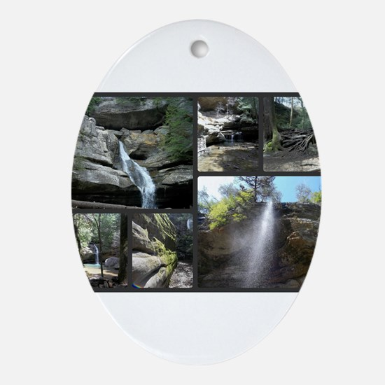 Hocking HIlls State Park Collage Oval Ornament