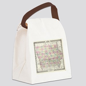 Vintage Map of Iowa (1855) Canvas Lunch Bag