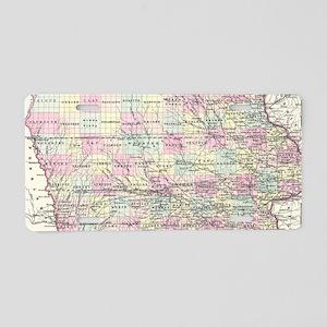 Vintage Map of Iowa (1855) Aluminum License Plate