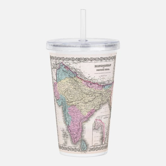 Vintage Map of India ( Acrylic Double-wall Tumbler