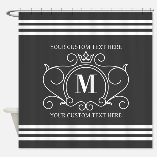 Gray Victorian Stripes Personalized Shower Curtain