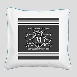 Gray Victorian Stripes Person Square Canvas Pillow