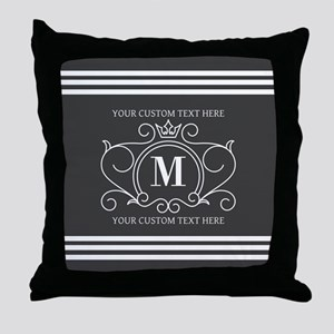 Gray Victorian Stripes Personalized Throw Pillow