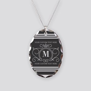 Gray Victorian Stripes Persona Necklace Oval Charm