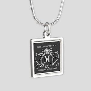 Gray Victorian Stripes Per Silver Square Necklace