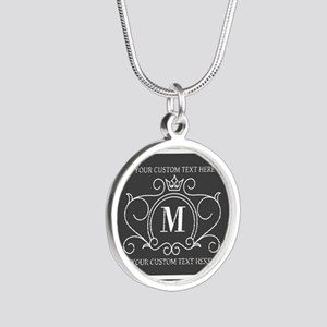Gray Victorian Stripes Perso Silver Round Necklace