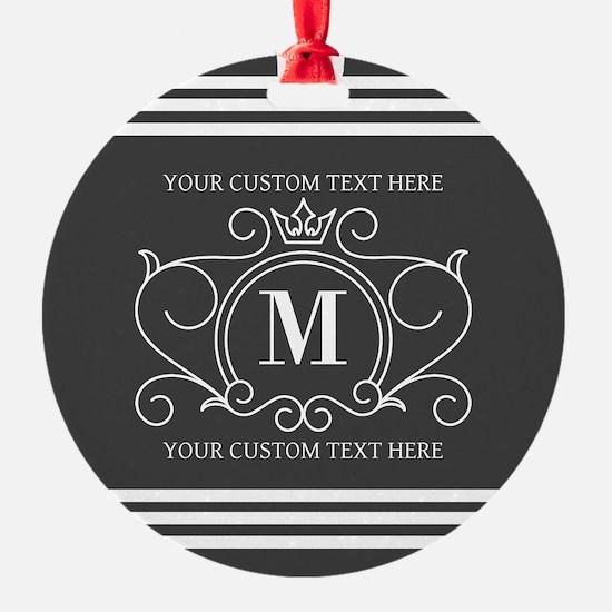 Gray Victorian Stripes Personalized Ornament