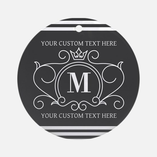 Gray Victorian Stripes Personalized Round Ornament