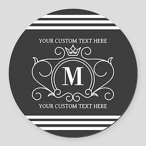 Gray Victorian Stripes Personaliz Round Car Magnet