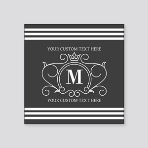 "Gray Victorian Stripes Pers Square Sticker 3"" x 3"""