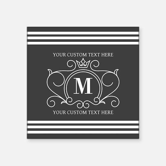 """Gray Victorian Stripes Pers Square Sticker 3"""" x 3"""""""