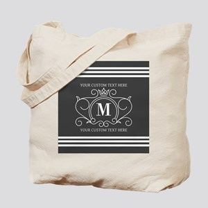 Gray Victorian Stripes Personalized Tote Bag