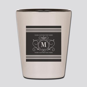 Gray Victorian Stripes Personalized Shot Glass