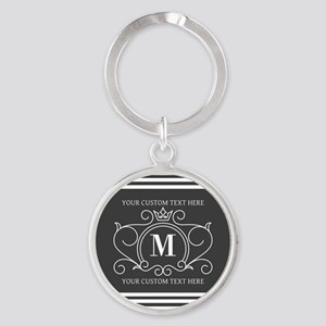 Gray Victorian Stripes Personalized Round Keychain