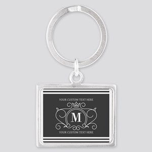 Gray Victorian Stripes Personal Landscape Keychain