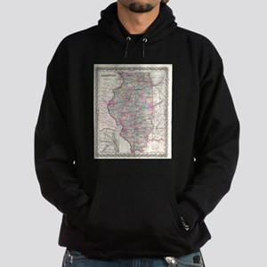 Vintage Map of Illinois (1855) Hoodie (dark)