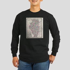 Vintage Map of Illinois (1855) Long Sleeve T-Shirt