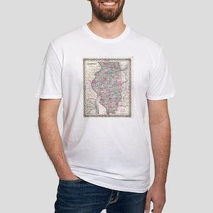 Vintage Map of Illinois (1855) T-Shirt