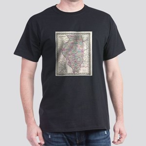 Vintage Map of Illinois (1855) T-Shirt
