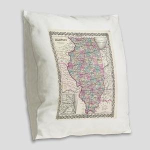 Vintage Map of Illinois (1855) Burlap Throw Pillow