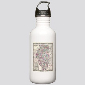 Vintage Map of Illinoi Stainless Water Bottle 1.0L