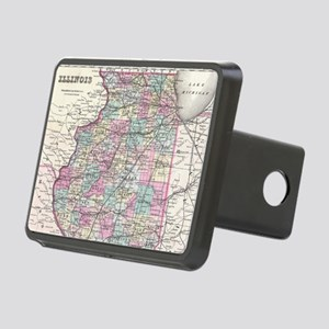 Vintage Map of Illinois (1 Rectangular Hitch Cover