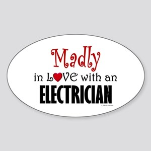 Madly In Love (Electrician) Oval Sticker