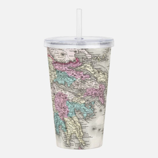Vintage Map of Greece Acrylic Double-wall Tumbler
