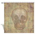Vintage Halloween French Skull Shower Curtain