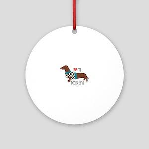 Love My Dachshund Round Ornament