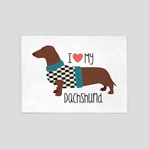 Love My Dachshund 5'x7'Area Rug