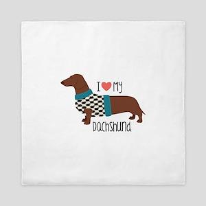 Love My Dachshund Queen Duvet