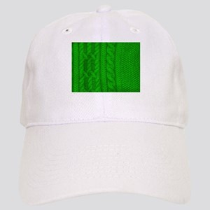 WOOL knit green cable design Cap