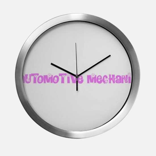 Automotive Mechanic Pink Flower Modern Wall Clock
