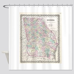 Vintage Map of Georgia (1855) Shower Curtain