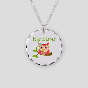 Owl Big Sister Necklace Circle Charm