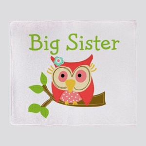 Owl Big Sister Throw Blanket
