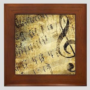 Grunge Music Note Framed Tile
