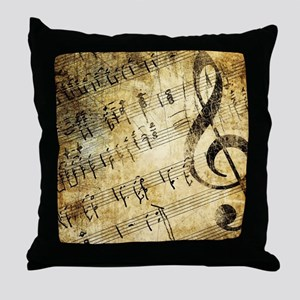 Grunge Music Note Throw Pillow