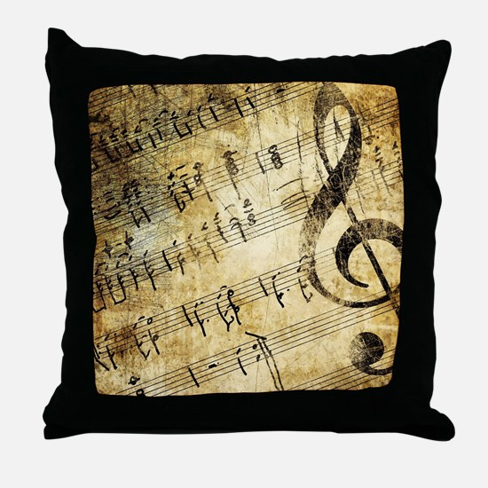 Grunge Music Note Throw Pillow