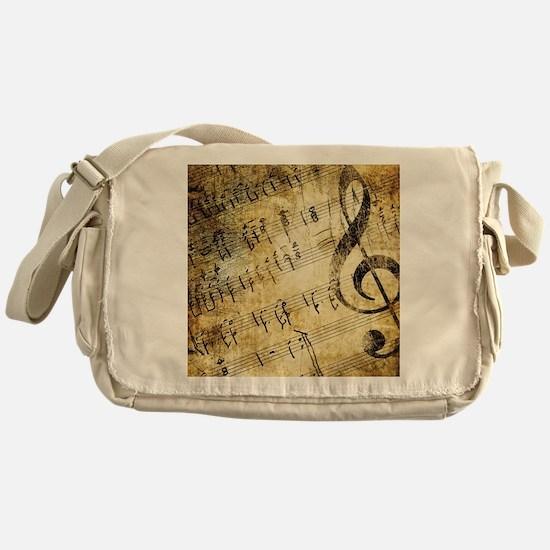 Grunge Music Note Messenger Bag