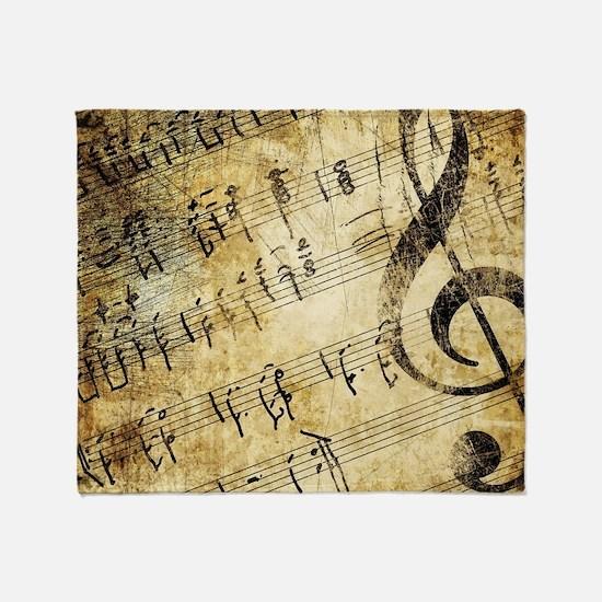 Grunge Music Note Throw Blanket