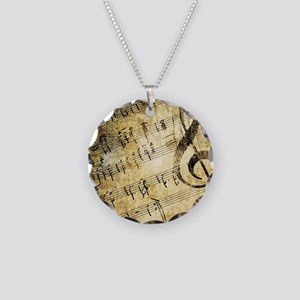 Grunge Music Note Necklace Circle Charm