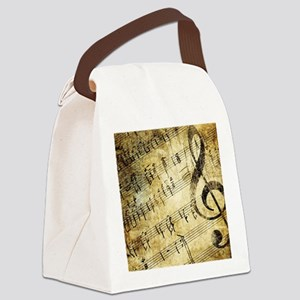 Grunge Music Note Canvas Lunch Bag