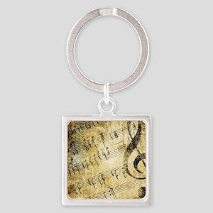 Grunge Music Note Square Keychain