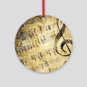 Grunge Music Note Round Ornament