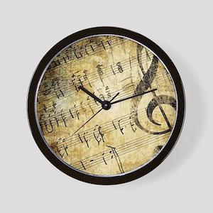 Grunge Music Note Wall Clock